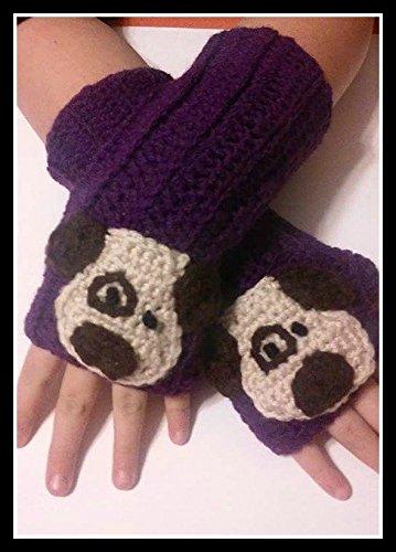 Hand Crocheted Purple with Spotted Dog Child Fingerless Mittens, Children Fingerless Gloves Hand Warmers