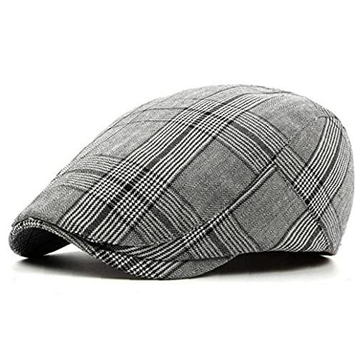 Onsinic 1pc Cotton Blend Men's Plaid Booms Cap French Flat Cap Casual Women's Newsboy Caps Hat Viseras