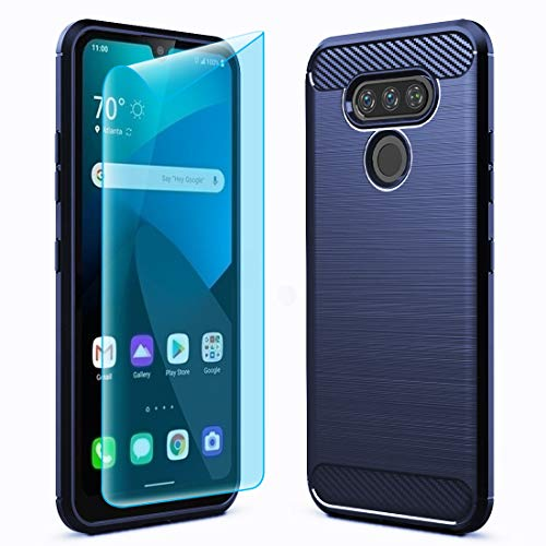 Sucnakp for LG Harmony 4 Case LG K41/LG Premier Pro Plus L455DL/LG K400 with Screen Protector TPU Shock Absorption Technology Raised Bezels Protective for LG K40S(TPU Blue)