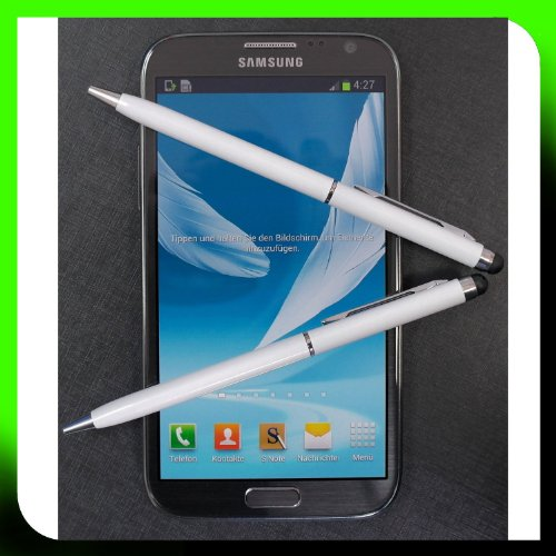 2x WEISS tomaxx kapazitiver Stylus Pen - Eingabestift mit Kugelschreiber für Sony Xperia Z2 Tablet, Sony Xperia Z2, Samsung Galaxy S5, Samsung Galaxy Note Pro P905, P900, Samsung Galaxy Tab PRO, ZTE Nubia Z5S, Samsung Galaxy Core LTE, Samsung GALAXY Core Plus, Alcatel One Touch Idol Alpha, LG L40, LG L70, LG L90, Wiko Highway, LG G Pro 2, Samsung Galaxy Note 3 Neo LTE+, HTC Desire 310, doro Primo 571, Allview A5 Quad, Sony Xperia T2 Ultra Dual
