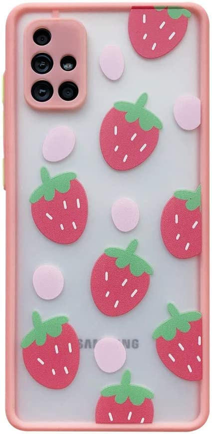 TIANA Pink Strawberries for Samsung Galaxy A51 5G Case Camera Protection TPU Bumper Phone Cover Cute Design Clear Matte PC Back Shockproof Protective Covers for Galaxy A51 5G Cases