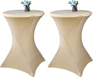 Uheng 2 Pack 32inch Highboy Cocktail Round Stretch Spandex Table Cover Tight Fitted Tablecloth Table Cloth for Party Outdoor DJ Tradeshows Banquet Vendors Wedding (32''X43'', Champagne)