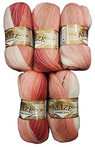 Alize 5 x 100 g Strickwolle Mehrfarbig mit Farbverlauf, 500 Gramm Strickgarn mit 20% Wolle-Anteil (Altrosa rosa weiß)