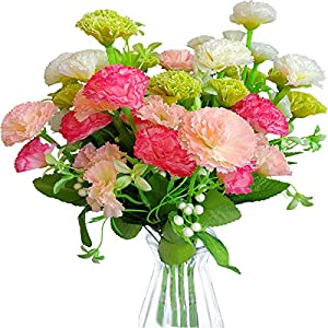 EverWin Artificial Fake Flowers for Decoration Table Centerpieces – Silk Faux Flowers Carnations Bouquets with Stem Bulk for Outdoor Kitchen Home Decoration Crafts Table Centerpieces (No Vase)