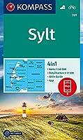 KOMPASS Wanderkarte Sylt 1:40 000: 4in1 Wanderkarte 1:40000 mit Aktiv Guide und Ortsplaenen inklusive Karte zur offline Verwendung in der KOMPASS-App. Fahrradfahren.