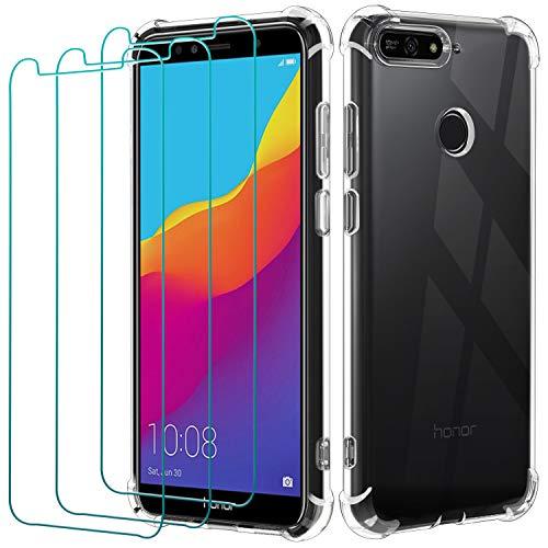 ivoler Funda para Huawei Y6 2018 / Honor 7A + 3 Unidades Cristal Vidrio Templado Protector de Pantalla, Ultra Fina Silicona Transparente TPU Carcasa Airbag Anti-Choque Anti-arañazos Caso