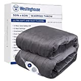Westinghouse Electric Blanket Heated Throw Soft Silky Microplush Flannel Heating Blanket, 6 Heat Settings & 4 Hours Auto Off, Machine Washable, Charcoal Grey, 50x60 inch