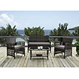IDS Home 4 Piece Patio Furniture Dining Set Garden Outdoor Indoor Furniture Set Rattan Wicker White Cushion Seat By