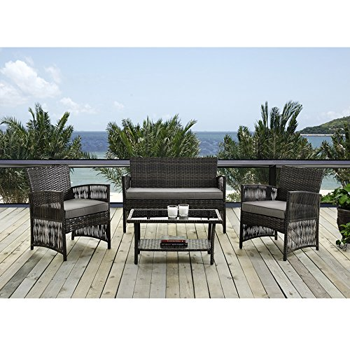 IDS Home MLM-16403 Brown Color Patio Furniture Coversation Set with Glass Coffee Table
