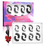 EYESEEK Lashes False Eyelashes,8 Pairs Fluffy Faux Mink False Lashes Pack,Wispy Natural & Dramatic Fake Eyelashes