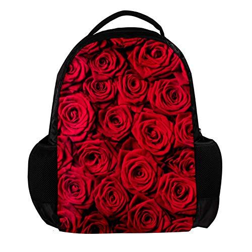 TIZORAX Rode Rozen Mooie Achtergrond School Rugzak Rugzak College Bookbag Reizen Laptop Daypack Tas voor Mannen Vrouwen