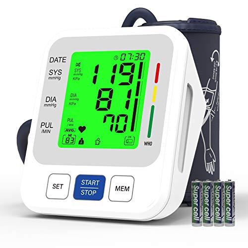 Tensiómetro de Brazo, Oudekay Monitor de Presión Arterial Totalmente Automático, Tensiómetro de Brazo Digital Deteccion de Irregular Arritmia Pulso Monitor de Presión Arterial (Incluye 4 Pilas AAA)