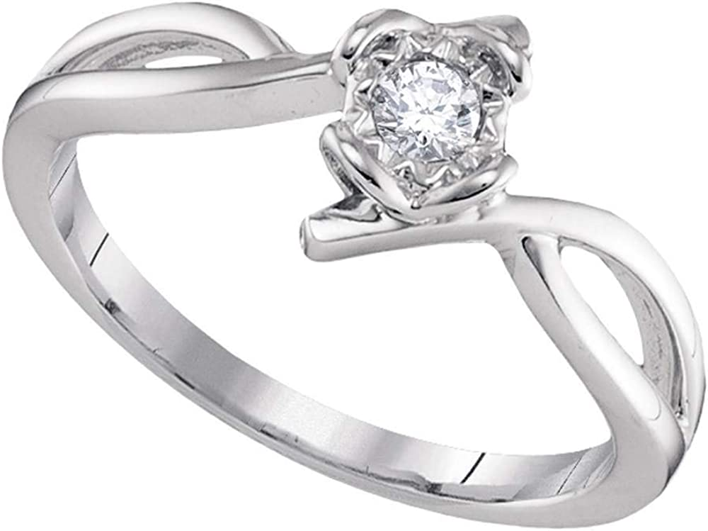 10kt White Gold Womens Round Diamond 1 Promise Long Beach Mall Solitaire Ring 8 Max 90% OFF