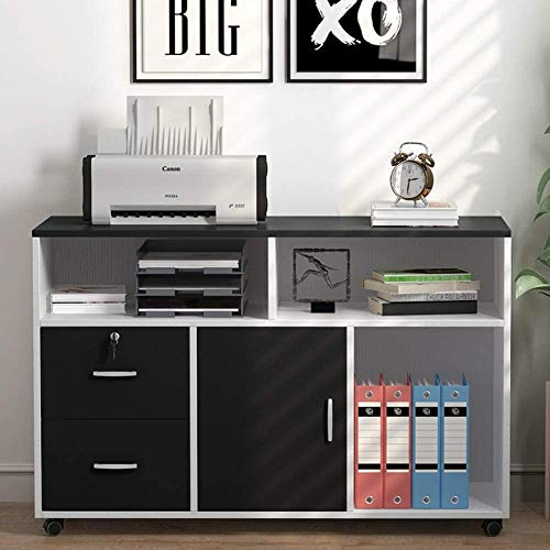Tribesigns Wood File Cabinet, 2 Drawer Storage Printer Stand, Mobile Cabinet with Locks and Wheels, Open Storage Shelves for Study, Home Office (WIHTE &Black)