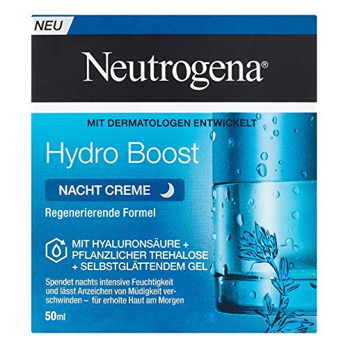 Neutrogena Hydro Boost feuchtigkeitsspendende Nachtpflege Gesichtscreme mit Hyaluronsäure, pflanzlicher Trehalose und selbstglättendem Gel (1 x 50 ml)