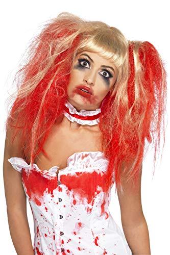 Smiffys Perruque goutte de sang, Blonde, avec couetteset effet goutte de sang