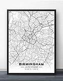 ZWXDMY Leinwand Bild,Großbritannien Birmingham City Karte