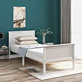 Famgizmo <span class='highlight'>Single</span> Bed <span class='highlight'>3ft</span> <span class='highlight'>Pine</span> Wooden Bed Frame with Headboard and Footboard, Ivory White Solid Frame for Adults, Kids, Teenagers, Children
