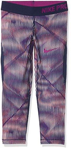 NIKE niña g NP Hyper Cool Capri aop1Pantalones Capri, Puesta del Sol Tint Color Rosa/Bina eléctrico Azul/Grasa Bayas púrpura, M