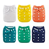 ALVABABY Baby Cloth Diapers One Size Adjustable Washable Reusable for Baby Girls and Boys 6 Pack +...