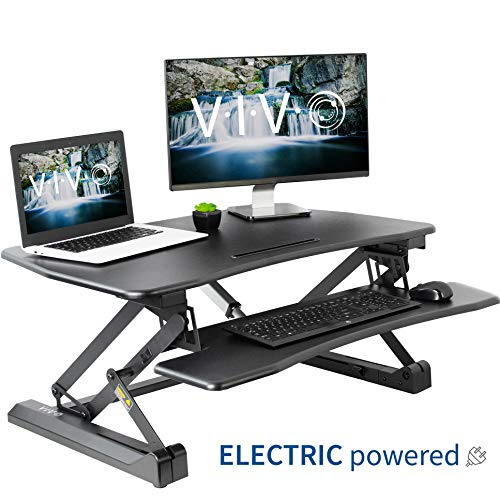 VIVO Black Electric Height Adjustable 36 inch Standing Desk Converter, Sit Stand Tabletop Dual Monitor and Laptop Riser Workstation (DESK-V000EB)