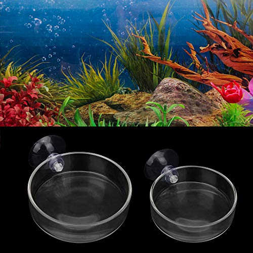 SENZEAL 2PCS Futternapf Rund Glas mit Saugnapf für Aquarium, Haus, Küche