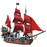 Caribbean The Black Pearl Bricks Building Blocks Pirate Ships Toy Boat Building Kit Large Queen Anne's Revenge Model 3D Puzzles Toy Craft Kits Birthday Gift Sailboat Vessel Hobby(1207 PCS)