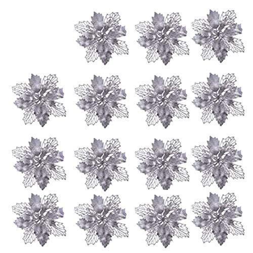 15 Pezzi Fiori di Natale Artificiali Glitterati,Christmas Glitter Poinsettia Flowers,Scintillio artificiale Poinsettia,Glitter Poinsettia Albero di Natale,Poinsettia Decorazione Floreale (Silver)