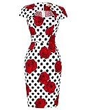 Belle Poque Mujer Floral Bodycon L醦iz Vestido CL7597-18 XL