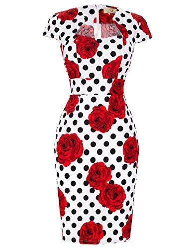 GRACE KARIN 50er Jahre Kleid Rockabilly bleistiftkleid Blumen etuikleid Stretch Kleid L CL7597-12
