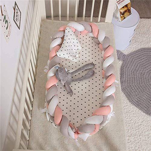 Cuna del bebé impresión de la estrella de las muchachas suavemente cuna 100% algodón portátil cuna cómoda respirable del bebé del Snuggle Nido Co-cama el dormir del bebé con la almohadilla 2 Piezas fo