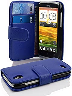 Cadorabo Book Case compatible with HTC DESIRE X in NAVY BLUE - with Stand Function and Card Slot made of Structured Faux L...