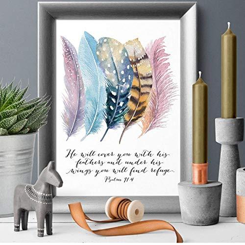 Terilizi Bijbelvers Psalm 91: 4 posters canvas kunstdruk, vogels veren, letters, Christelijke citaten canvas schilderkunst muurkunst wooncultuur -20 x 30 cm geen lijst