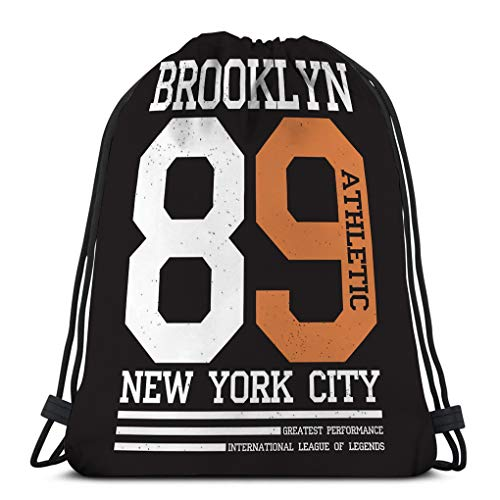 Jiuerlius3 Drawstring Bundle Bag Sport Travelling Knapsack For Everyone New York Brooklyn Typography Print Sports Athletic