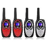 Retevis RT628 Walkie Talkie Niños PMR446 8 Canales 10 Tonos de Llamada VOX Bloqueo de Teclado Volumen Ajustable Walkie Talkie Niñas Juguete Regalo para Niños (Rojo y Plata)