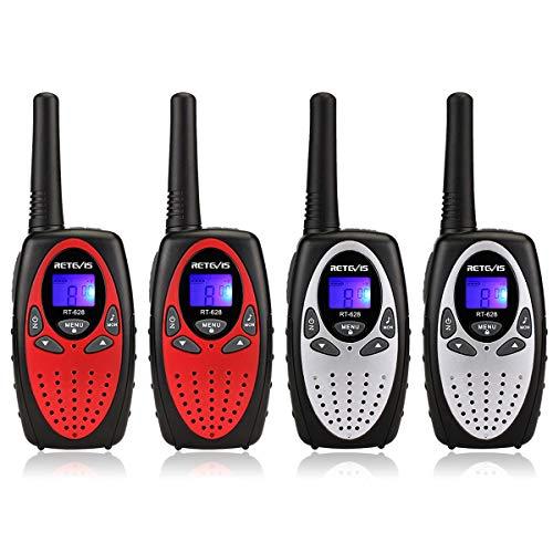 Retevis RT628 Walkie Talkie Niños PMR446 8 Canales 10 Tonos de Llamada VOX Bloqueo de Teclado Volumen Ajustable Walkie Talkie Niñas Juguete Regalo para Niños (Rojo y Plata,2 par)