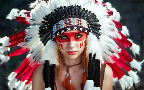 Mulore-Madera Rompecabezas Puzzle 1000 Piezas para Adultos famiglia Padre-Hijo Juguete DIY Foto Relajado ensamblaje Juego Regalo de cumpleaños,Indios Apache-16