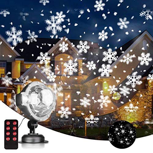 EAMBRITE LED Projektionslampe Schneeflocke Projektionslampe Weihnachten LED Projektor mit Fernbedienung und Timer Weihnachtsbeleuchtung für Geburtstag Halloween Party Outdoor Indoor