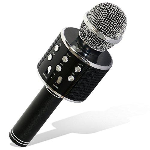 Tonor WS-858 Micrófono Inalámbrico Karaoke Bluetooth Portátil Altavoz Incorporado Batería 1800mAh para Karaoke Compatible con PC/iPad/iPhone/Smartphone Negro