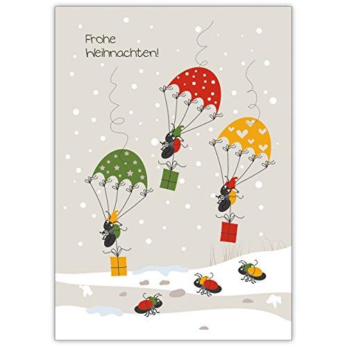 Vrolijk kerst! wensen deze parachutezijde springende mieren in de sneeuw 4 Grußkarten