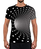 Alistyle Men Women Short Sleeve T Shirts 3D Tunnel Print Graphic Fashion Crewneck Tee Tops XXL