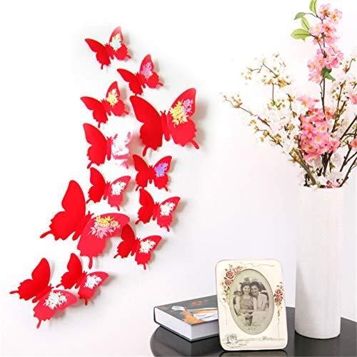QTRYFHJI 12Pcs/Set 3D Dazzle Flower Butterfly for Living Room Bedroom Wall Decor Plastic Butterflies Fridge Stickers Party