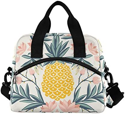 Floral Pineapple Lunch Bag with Pocket Tropical Vintage Insulated Lunch Bag Reusable Cooler product image