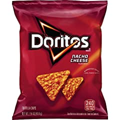Pack of 64, 1.75 ounce large single serving bags (total of 112 ounces) Doritos tortilla chips with classic nacho cheese flavor Made of whole corn; flavorings feature real cheddar cheese Crunchy straight from the bag or after scooping up dip or salsa ...
