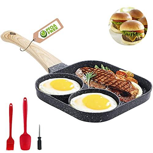 MIHUNTER Antihaft-Eiersteak-Frühstückspfanne, 3-teilige Bratpfanne, Aluminium-Eierkochpfanne für Burger, Steak und Speck, geeignet für Gasherd und Induktionsherd