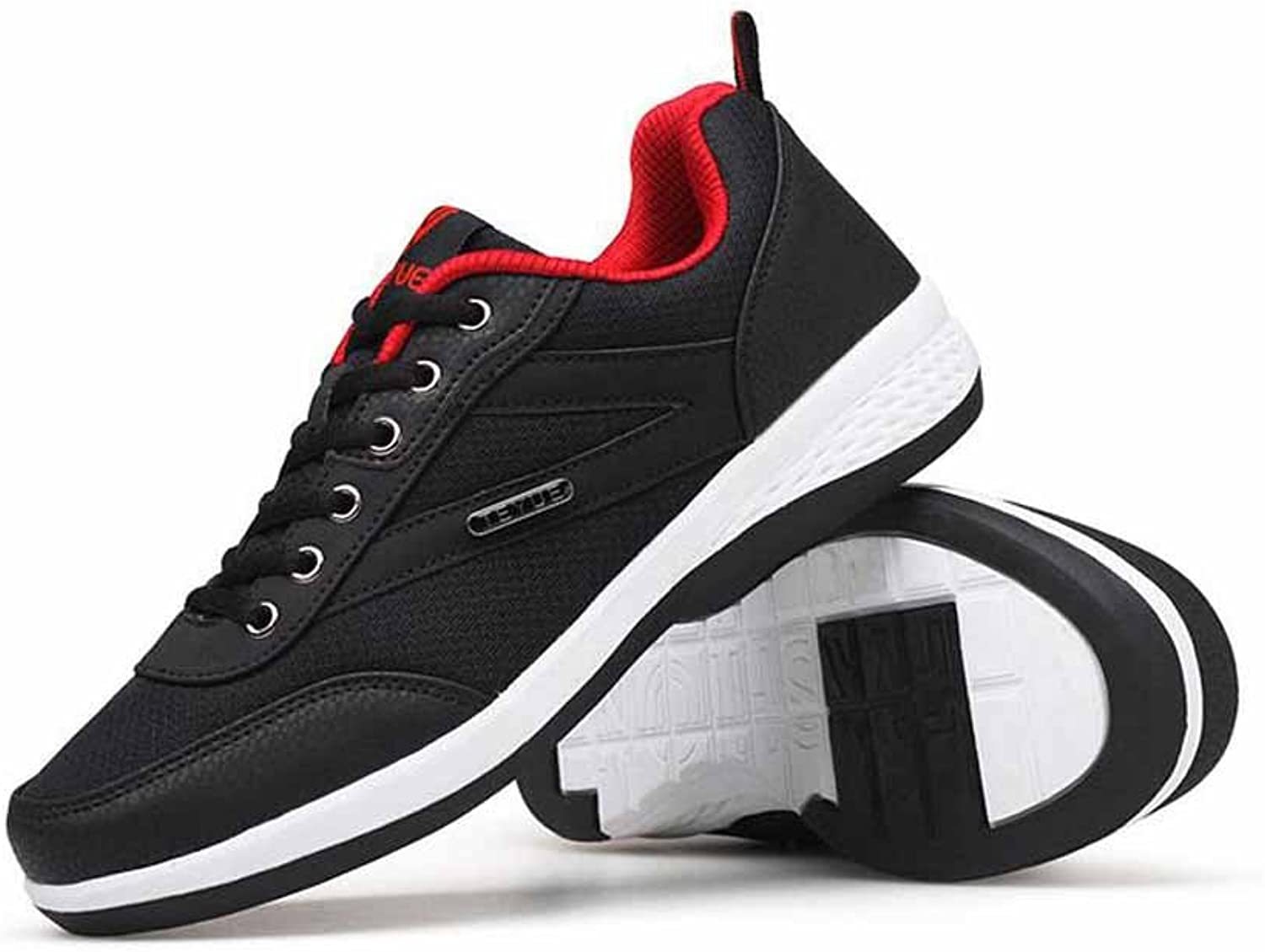 Men Outdoor Sneakers Casual Athletic shoes New Breathable Lace Up Running shoes (color   Black, Size   43)