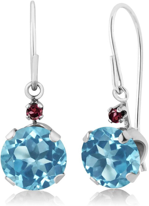 2.05 Ct Round Swiss bluee Topaz Red Rhodolite Garnet 14K White gold Earrings