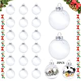 Colmanda Bolas de Navidad Rellenables, 20 Piezas Bolas de Navidad Transparente, Bolas Acrílicas Transparentes Bolas Decorativas Transparentes Bola de Decoración Navideña, Decoraciones de Navidad