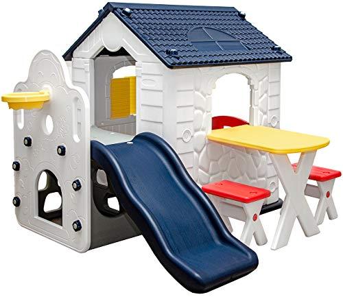 LittleTom Casa dei Giochi con Scivolo per Bambini - 1 Anno - Casa Giardino Bimbi - Esterno e Interno