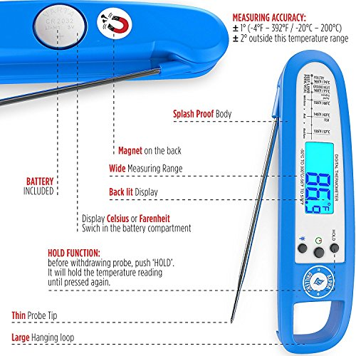 Instant Read Thermometer Digital BBQ Food Probe. Includes Internal Barbecue Meat Temperature Guide